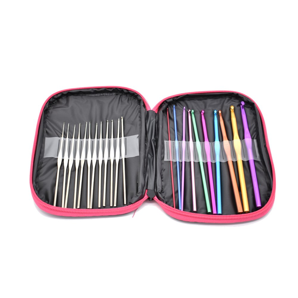 100pcs 22 Sizes Crochet Hooks Set, 0.6mm-6.5mm Knitting Needles Kit with Wide Thumb Placed Flat, 20 Locking Stitch Markers and Other Crochet Tools by YuanhuaRongsheng (Image #2)