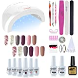 Vishine Gel Nail Polish Starter Kit - 48W LED Lamp 6 Color & Base Top Coat Set, Manicure Tools Popular Nail Art Designs…