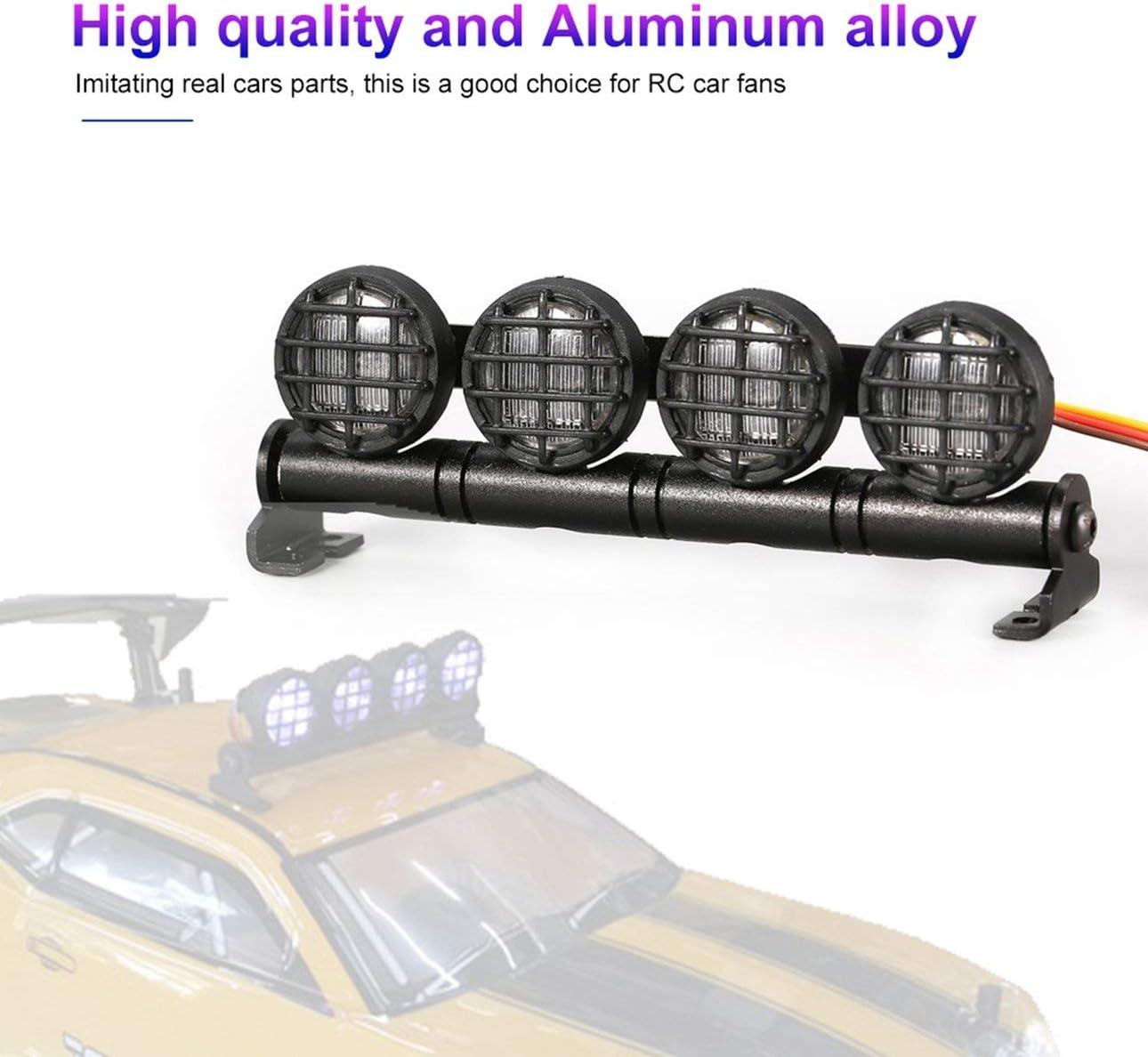 Pudincoco AX-506W Barre lumineuse multi-fonctions pour lampes de toit /à LED avec 4 projecteurs pour 1//10 1//8 voiture RC HSP TAMIYA CC01 Axial SCX10