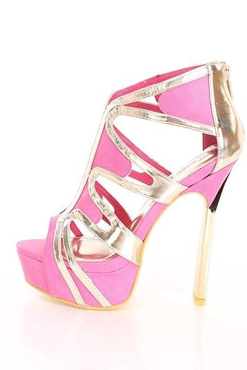 feb4742a29edc6 Amazon.com | Alba Lynn Black Yellow Pink White Open Toe Platform High Heels  Faux Leather | Sandals