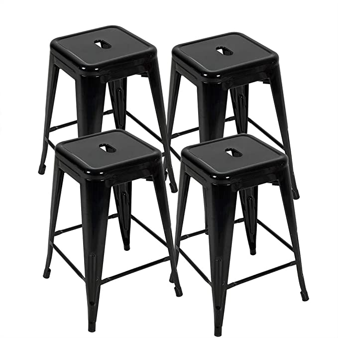 Stupendous Bonzy Home Metal Bar Stools 24 Inch Counter Height Stackable Barstools Indoor Outdoor Patio Furniture Dining Backless Kitchen Bar Stools Set Of 4 Machost Co Dining Chair Design Ideas Machostcouk