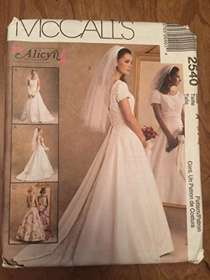 Amazon Mccalls 2540 Sewing Pattern Misses Bridal Gown And