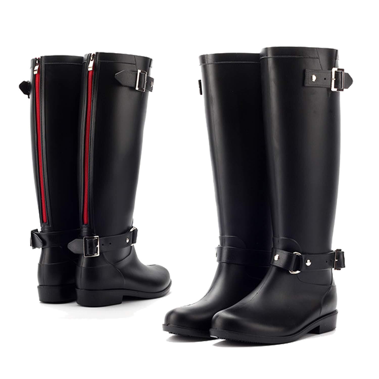LILY999 Gummistiefel Regenstiefel Damen Langschaft Wasserdichte Regen Boots mit Blockabsatz Rei/ßverschluss Schnalle Schneestiefel Gartenschuhe