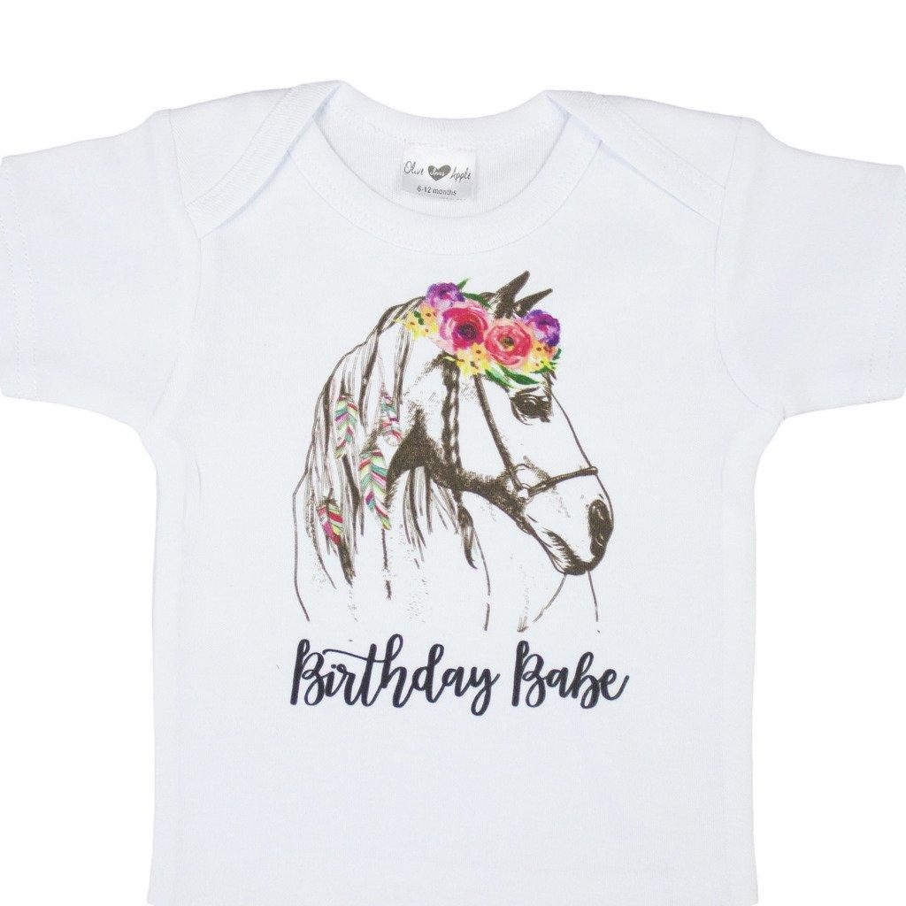 Olive Loves Apple Girls 1st Birthday Babe Birthday Bodysuit Boho Watercolor Horse First Birthday Girl by Olive Loves Apple (Image #1)
