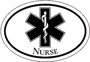 WickedGoodz Oval Medical Star Nurse Decal - Nursing Bumper Sticker - Rn CNA LPN Graduation Sticker