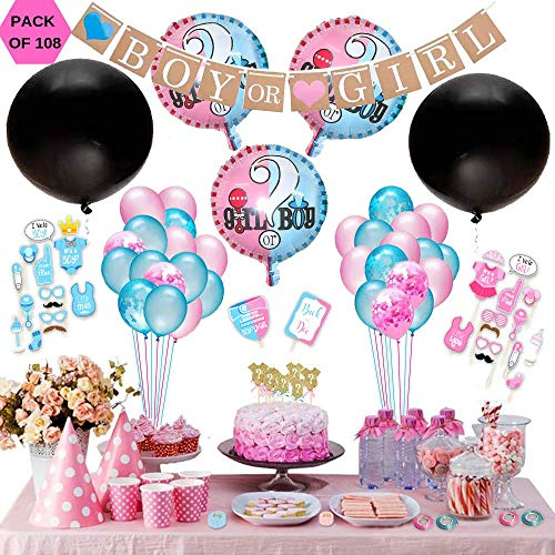 Gender Reveal Party Supplies for Boy or Girl Baby Shower,Decorations Kit With Jumbo Black Balloon And Pink Or Blue Confetti, Banner, Photo Props, Assorted Balloons[108 Pack]