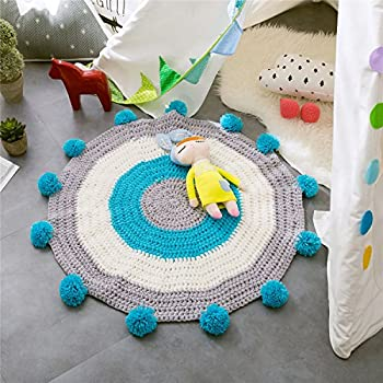 Round Rugs for Kids,Toys Storage Organizer,Nursery Rugs Large Cotton Anti-slip Cartoon Animal Baby Mat Floor Game Area for Kids Room Living Room, 31.5x31.5inch (Blue)