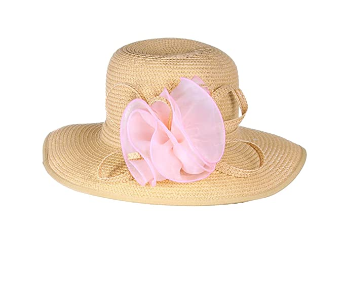 dded0d7f5 New Style Hat and Fashion Lace Bow Brim Straw Hat - Beige at Amazon ...