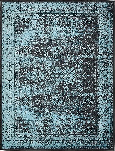 Unique Loom Imperial Collection Modern Traditional Vintage Distressed Blue Black Area Rug 10 0 x 13 0