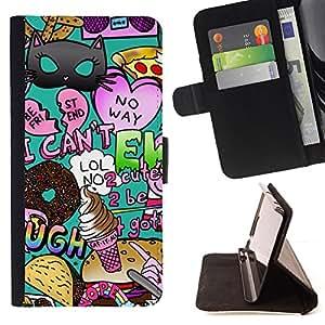 BullDog Case - FOR/Samsung Galaxy Core Prime / - / pop art random modern heart teal /- Monedero de cuero de la PU Llevar cubierta de la caja con el ID Credit Card Slots Flip funda de cuer