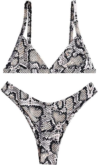 7550f292d62c7 Rosegal Women's Snakeskin Strap Side Deep V Print High Cut Bikini Set  Swimsuit (S,