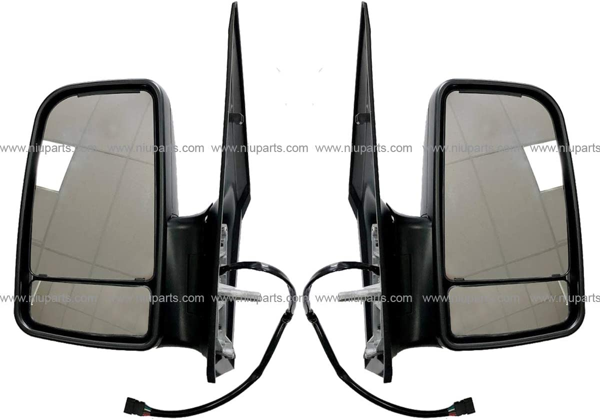 Fit: 2007-2017 MB Sprinter, Dodge Sprinter, Freightliner Sprinter Driver and Passenger Side Door Mirror Power Heated with LED Turn Signal