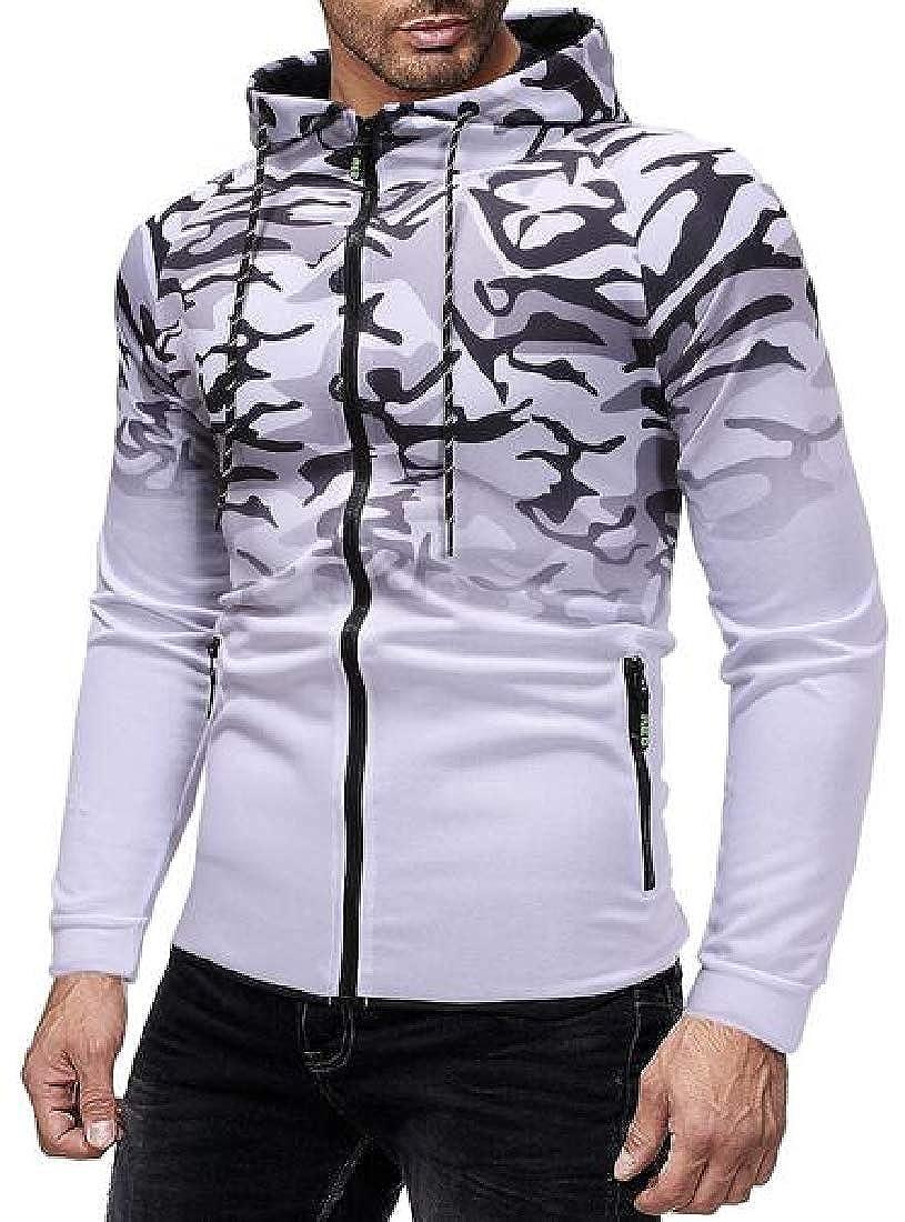MMCP Men 2PCS Sport Camo Print Hoodie Coat Jogger Pants Sweatsuits Tracksuits Sets