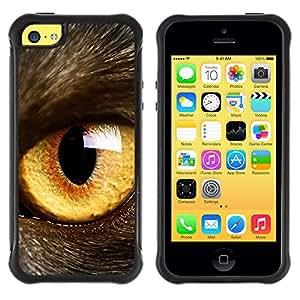 Kobe Diy Case Rugged hybrid Protection Impact Case Cover FOR iphone 5C CASE Cover ,iphone 5C case,iphone5C cover ,Cases for iphone 5C / Cat Eye Orange Yellow Fur Pet Looking /