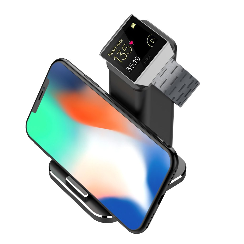 XUNMEJ for Fitbit Ionic Charger, Fitbit Ionic Accessories Charging Station Charging Stand Cradle Holder Compatible for Fitbit Ionic Watch, All Smart Phones, for iPhone X/ 8/7/ 6 Samsung, Black