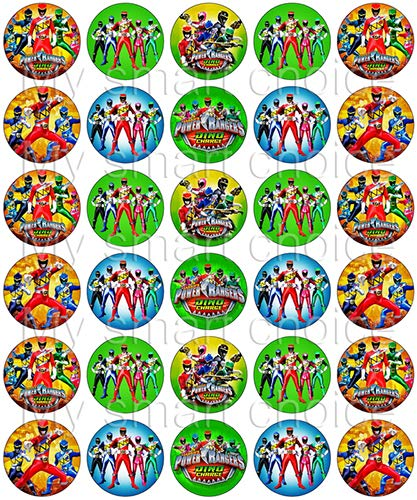 (30 x Edible Cupcake Toppers - Power Rangers Group Party Themed Collection of Edible Cake Decorations | Uncut Edible Prints on Wafer Sheet)