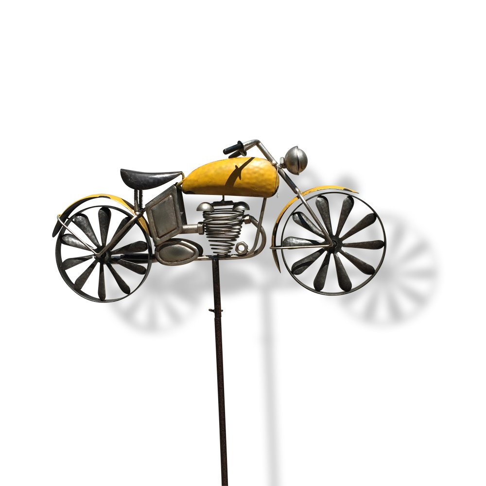 WHW Whole House Worlds Americana Motorcycle Garden Spinner, Vintage Style Stake Decoration, Rustic Yellow with Antiqued Finish, Over 5 Ft Tall (63 Inches - 160 cm)
