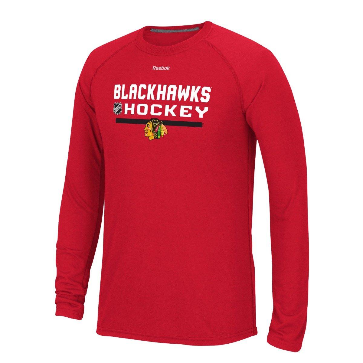 size 40 8eace 8233a Amazon.com   Reebok Chicago Blackhawks NHL Center Ice 2015 Locker Room L S  Men s T-Shirt   Clothing