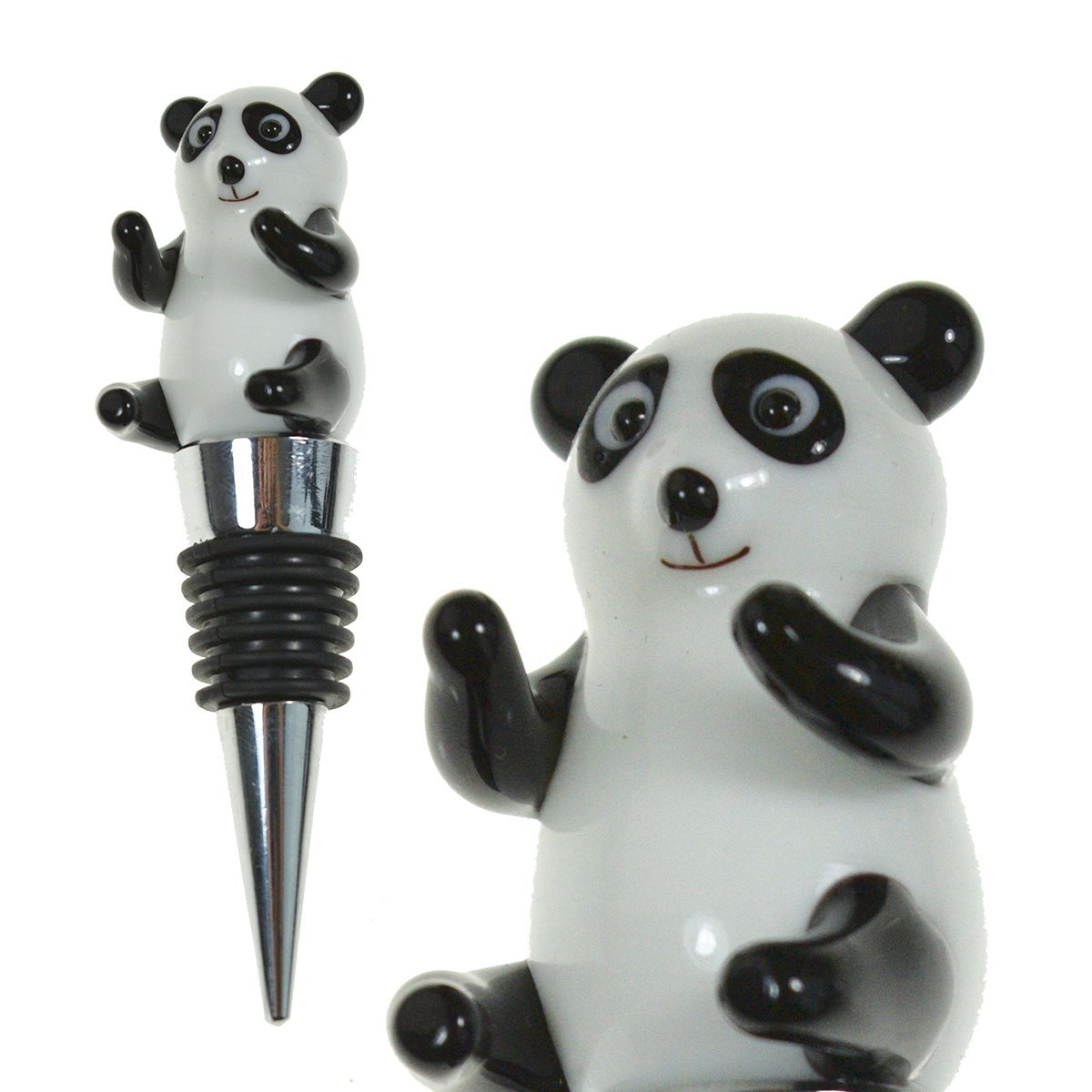 Glass Panda Wine Bottle Stopper (20+ Designs to Choose From) - Colorful, Unique, Handmade, Eye-Catching Decorative Glass Wine Bottle Stopper … (Panda)