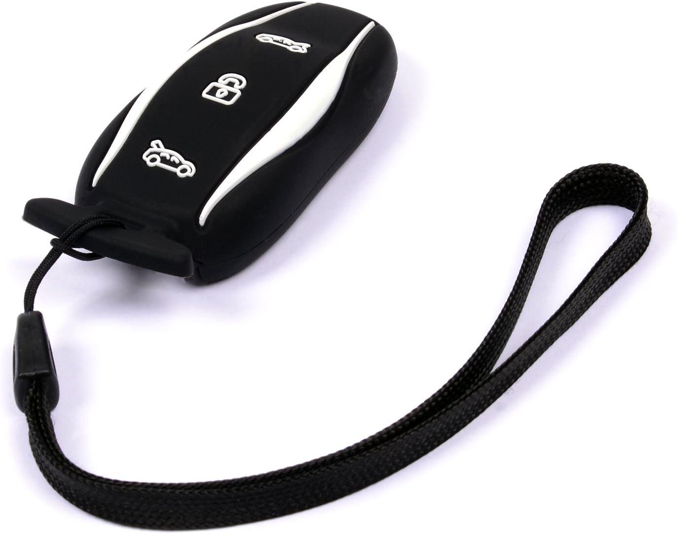 Black with Wrist Strap Velsman Car Smart Key Fob Silicone Case Cover Protector Holder Skin for Tesla Model S