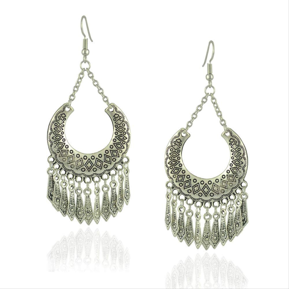 Pendientes retro de Europa y Estados Unidos pendientes de diamantes de gemas pendientes joyas de oreja bohemia con flecos