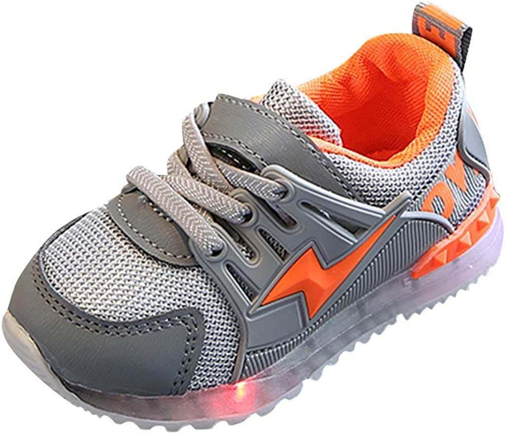15-18 Months, Gray Kids Toddler Boys Girls Led Light Shoes Mesh Sneakers for 1-6 Years Old Child Breathable Outdoor Running Shoes