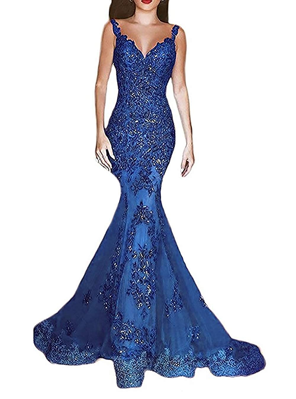 Dark bluee ASBridal Lace Evening Dress Mermaid Prom Dresses Long Sequin Formal Party Evening Gowns Sheer Back