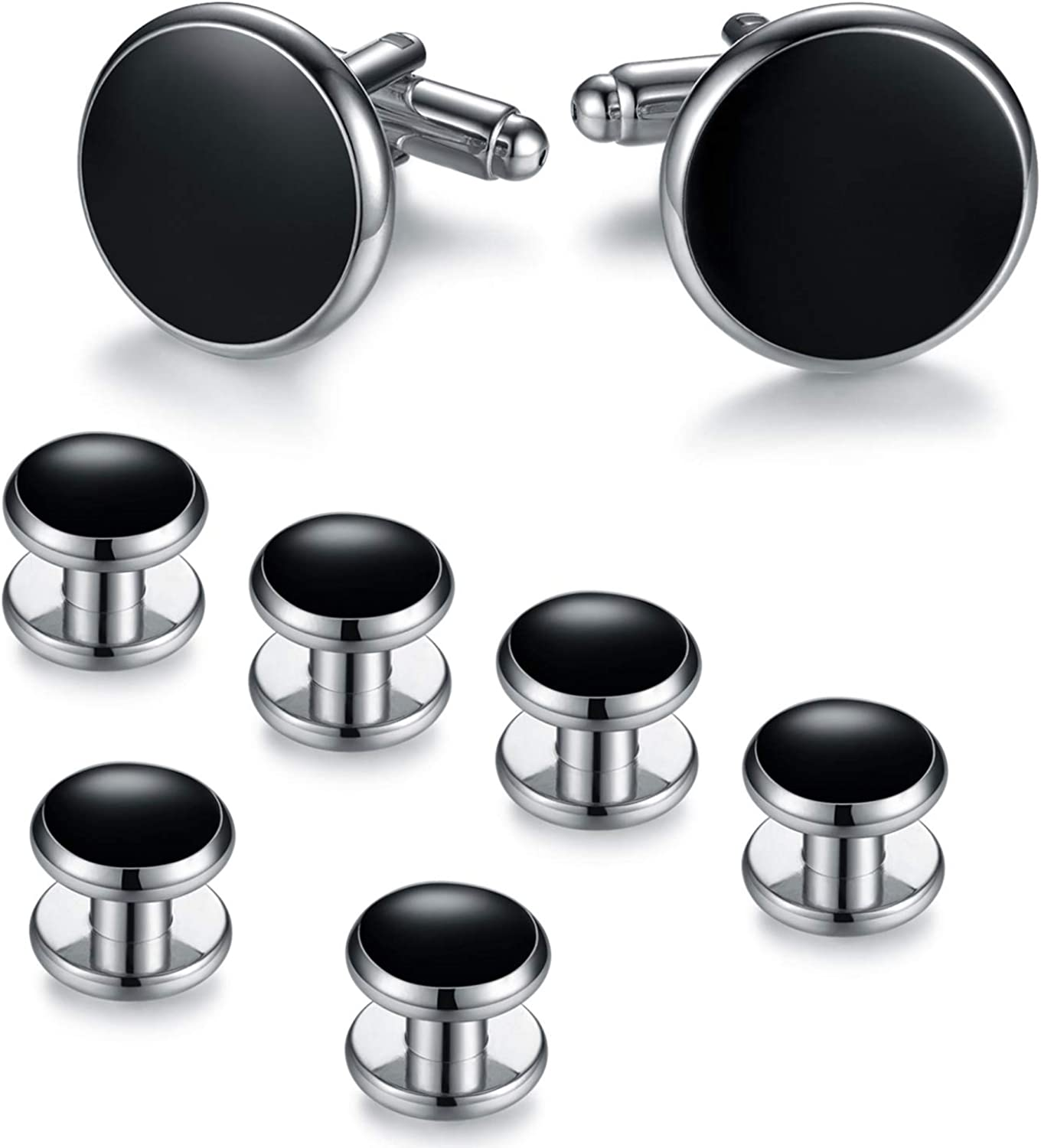 BodyJ4You Tuxedo Cufflinks Shirt Button Studs Men Set Formal Business Classic Wedding Jewelry