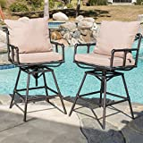 Cheap Great Deal Furniture (Set of 2) Varick Outdoor Adjustable Pipe Barstool with Cushions