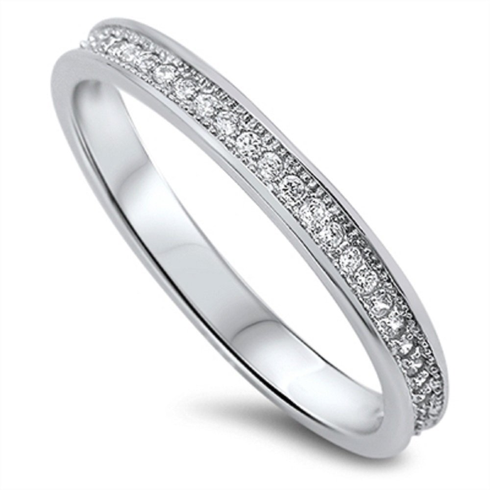 CloseoutWarehouse Clear Cubic Zirconia Stackable Eternity Ring Sterling Silver