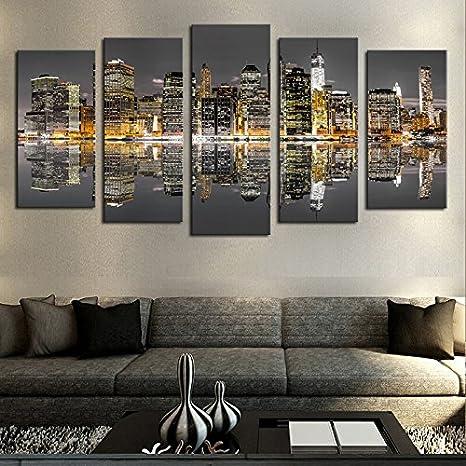 mmwin Impresiones en HD Cartel Lienzo Arte de la Pared Imágenes modulares Decoración del hogar Trabajo 5 Piezas Ciudad de Nueva York Noche Reflexión del Horizonte: Amazon.es: Hogar
