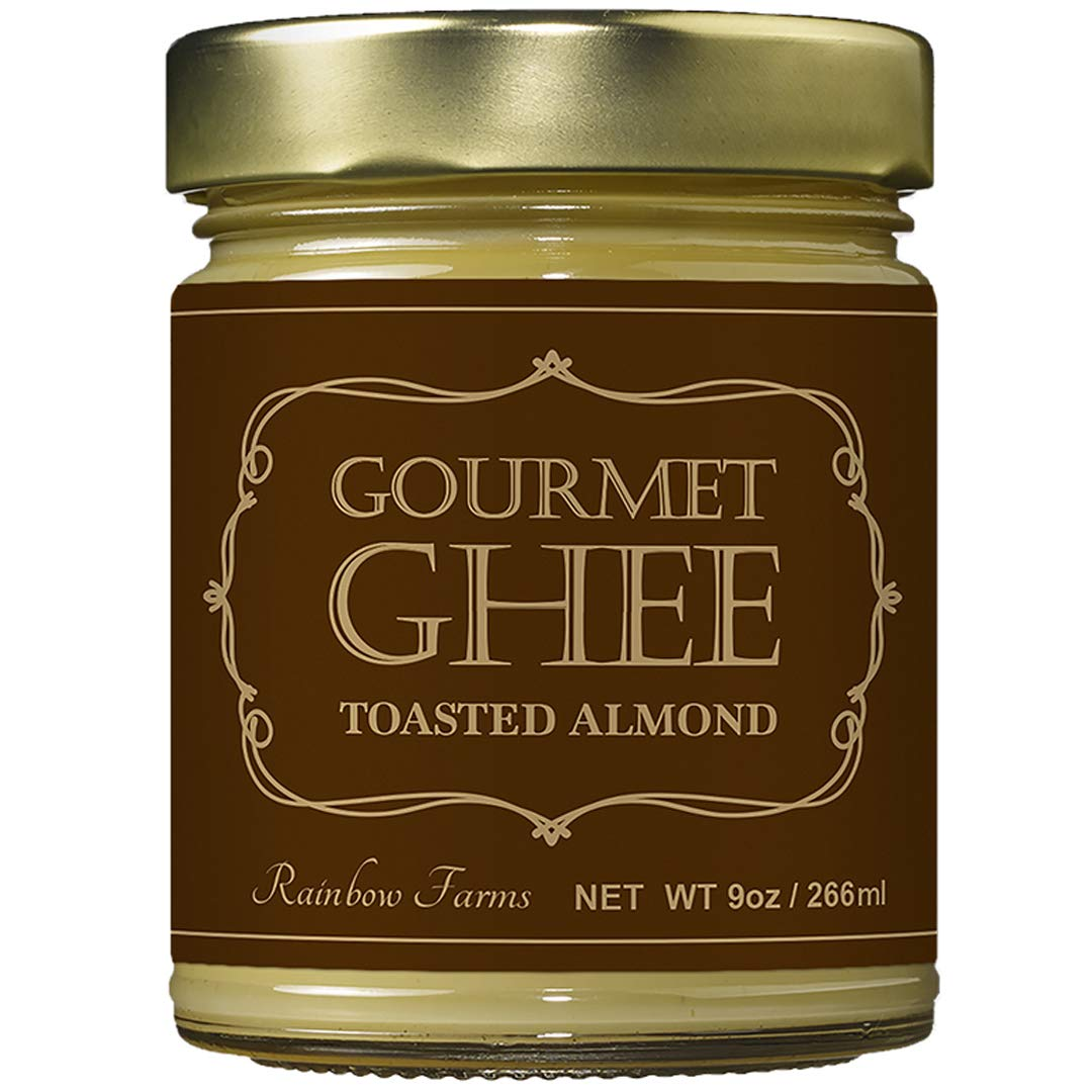 Almond Grass-Fed Gourmet Ghee Butter 9 oz / 266 ml Pasture-Raised French Butter, Non-GMO, Keto Friendly,, Made In USA by Rainbow Farms (1)