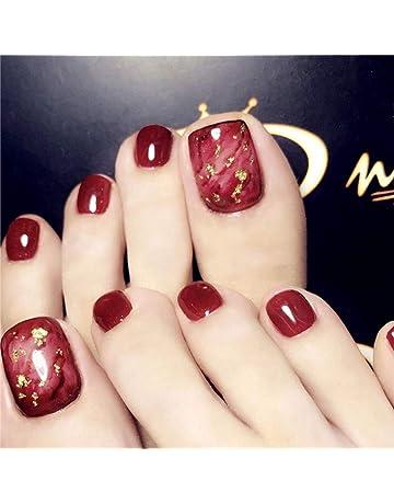 c0caebb64f1 Milanco 24pcs False Toe Nails Red Dyeing Square Fake Nail Full Cover Nails  Art for Women