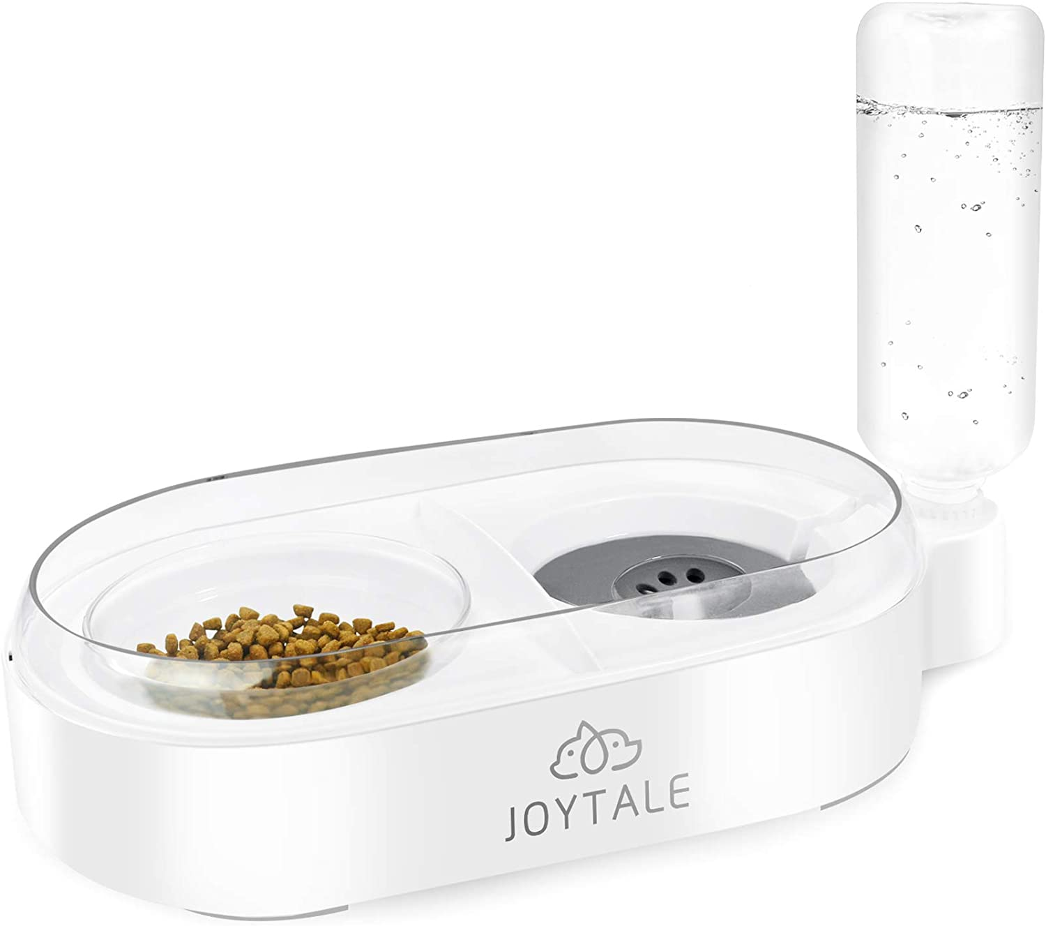 Joytale Cat Food and Water Bowls, Detachable Glass Feeder Bowl for Kitten, No-Spill Pet Bowl with Automatic Water Dispenser