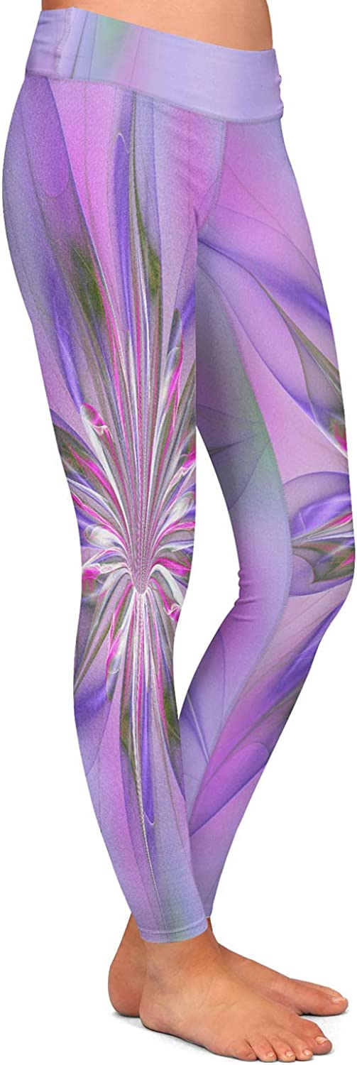Athletic Yoga Leggings from DiaNoche Designs by Pam Amos Lacey Flower Purple Pinks