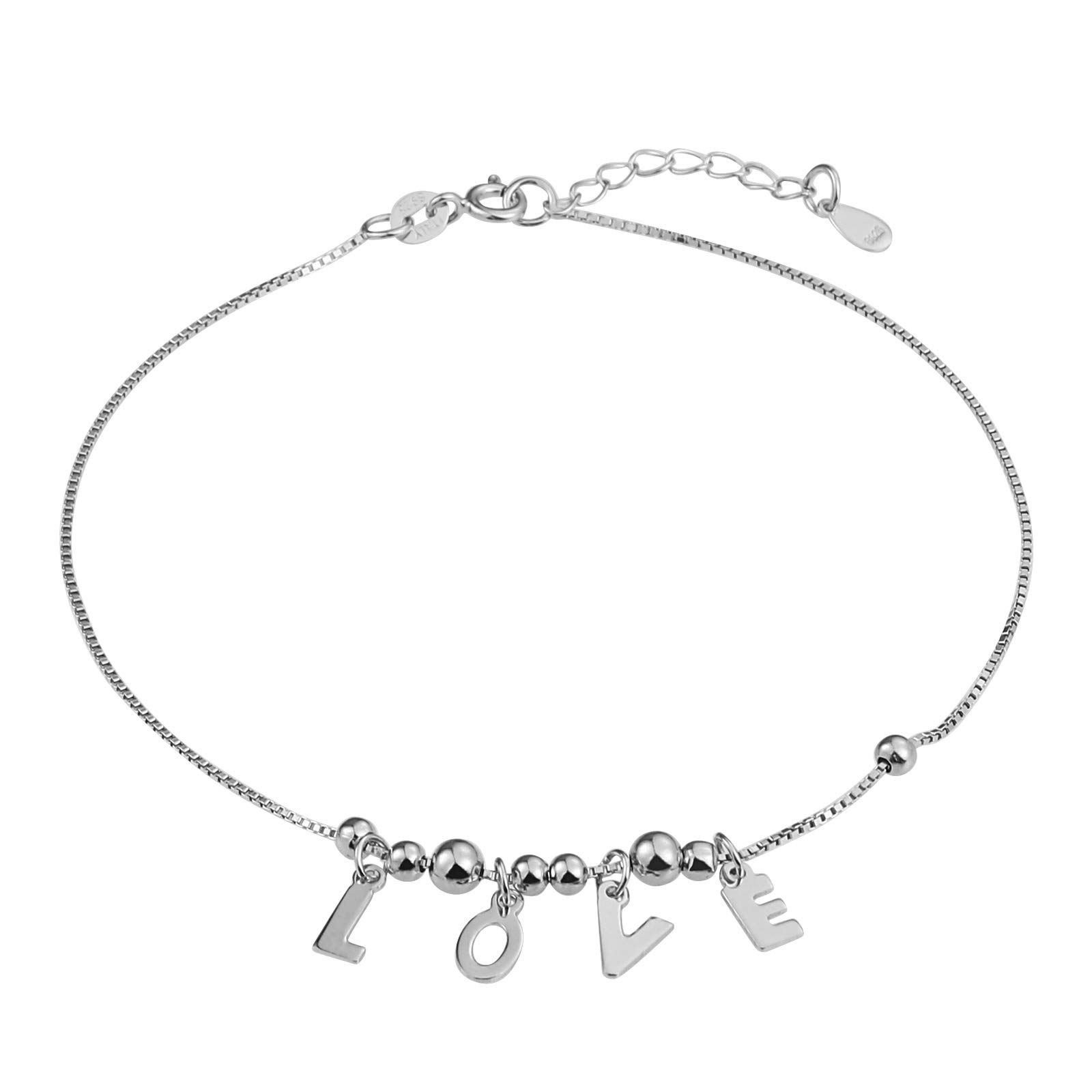 Beydodo Ankle Bracelet 925 Sterling Silver Ankle Bracelet 11 inches Engraving Love Round Beads