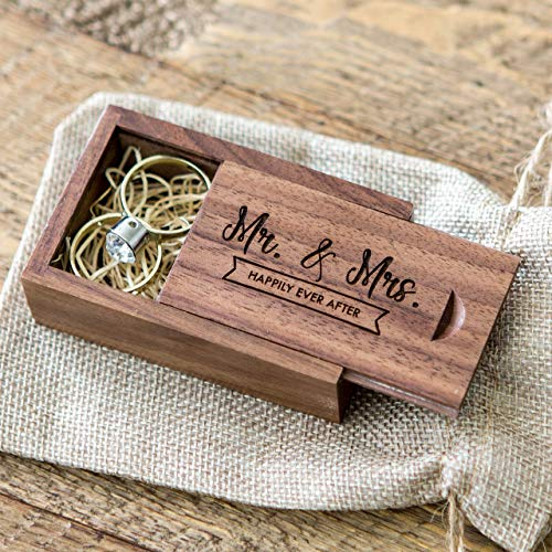 - Mr & Mrs Happily Ever After - Wood Ring Box - Small Wedding Ring Bearer Box, Engagement and Proposal Ring Box