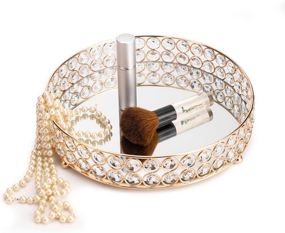 Oro VINCIGANT Cristallo Specchiato Vassoio da Portata Specchiera in Vetro Decorativo in Metallo Antico Piatti Vassoio in Argento Candela Caramelle