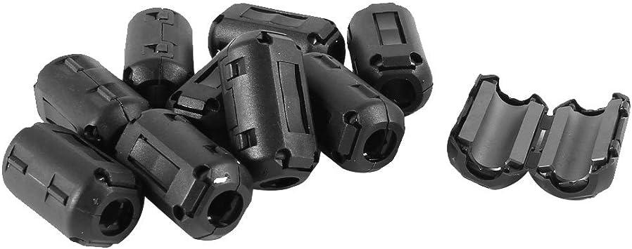 uxcell 5 Pcs Black UF50B 6mm Dia Clip On EMI RFI Noise Ferrite Core Filter