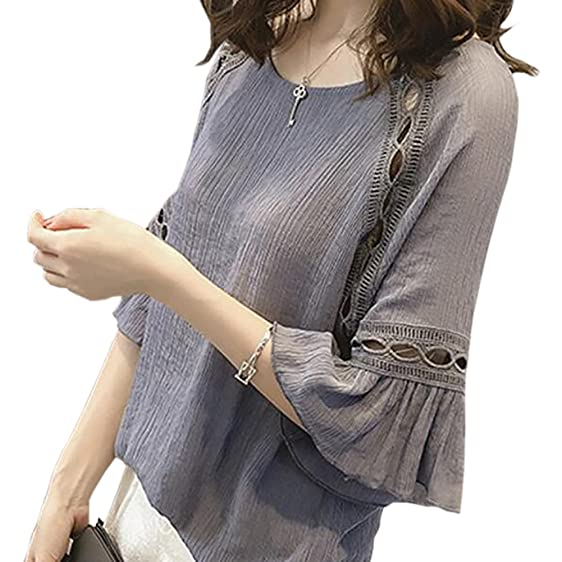 2017 Summer Style Women Blusas Chiffon Hollow Out Shirts Fashion Casual Flare Sleeve Tops Oversized Blouse