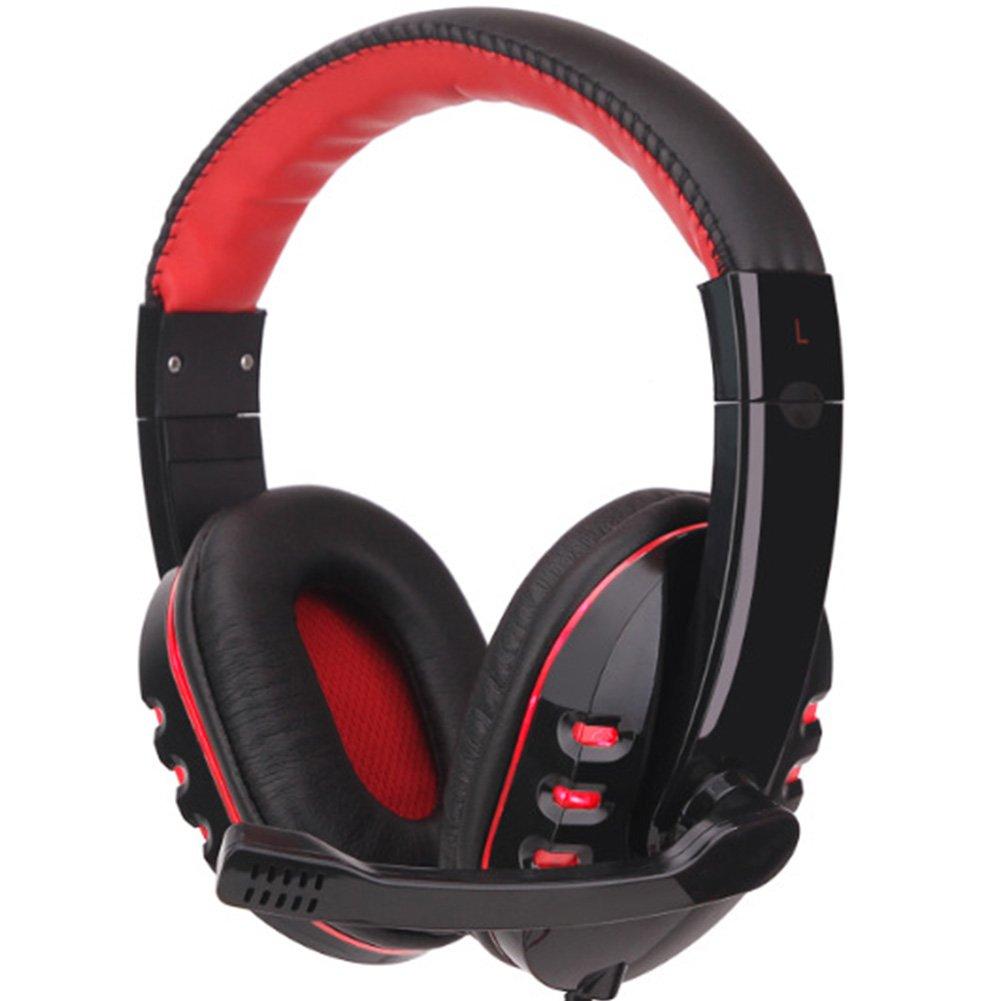 Gaming Headset per PS4 Xbox One –  Hinmay 3.5 mm Wired over-head stereo di gioco cuffia con microfono, controllo del volume per Sony PS4 PC tablet laptop smartphone Xbox One S rosso Red