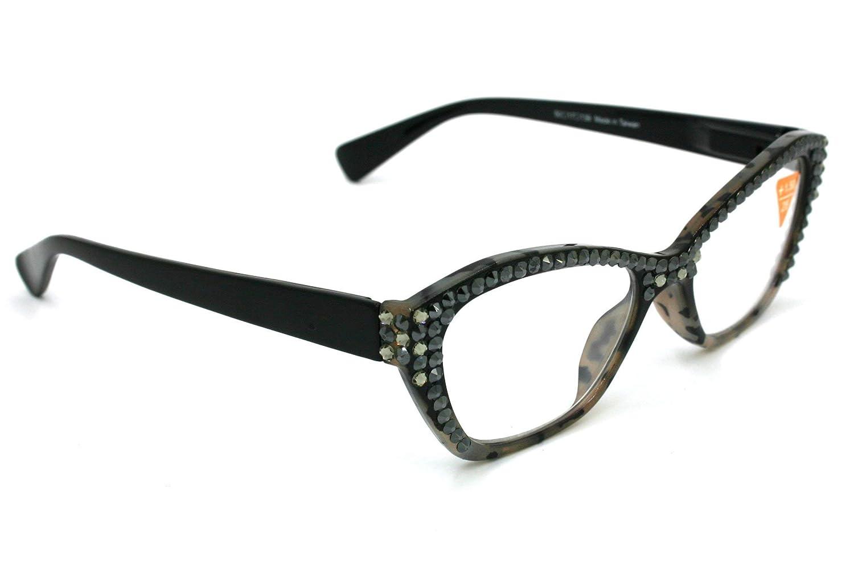 48d60191cb Retro Cat eyes Women Reading Glasses W Full Top Hematite   Black Diamond  Swarovski Crystals larger image