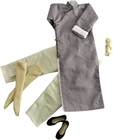 1//6 Scale Long Sleeves Kung Fu Suit Robe Set GREY for 12/'/' MALE figure Doll