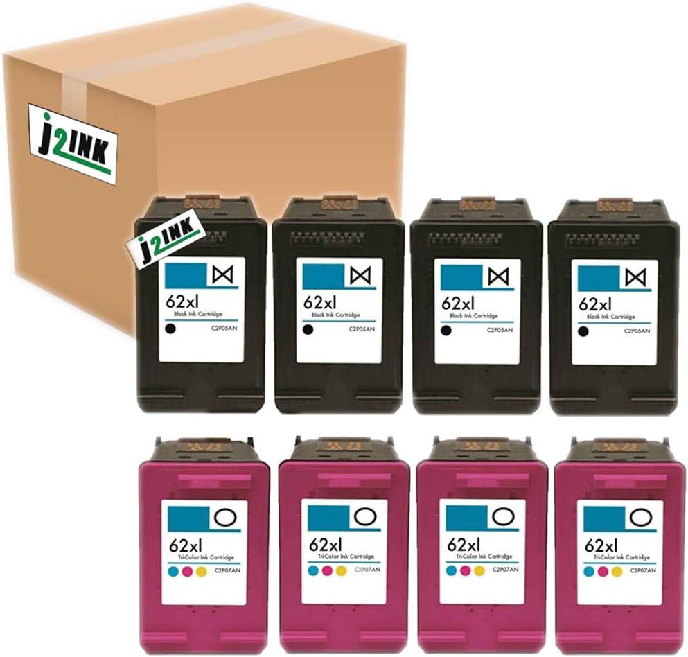 J2INK 8 Pack #62 XL Black &Color Ink Cartridges for Envy 5640 5642 5643 5644