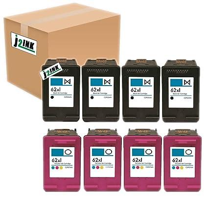 j2ink 8 Pack # 62 XL negro y color Cartuchos de tinta para ...