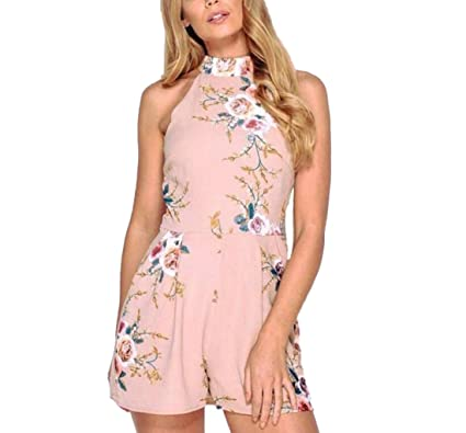a9ee30ee957 YYear Women s Sleeveless Printed Short Beach Jumpsuits Rompers Playsuits  Pink ...