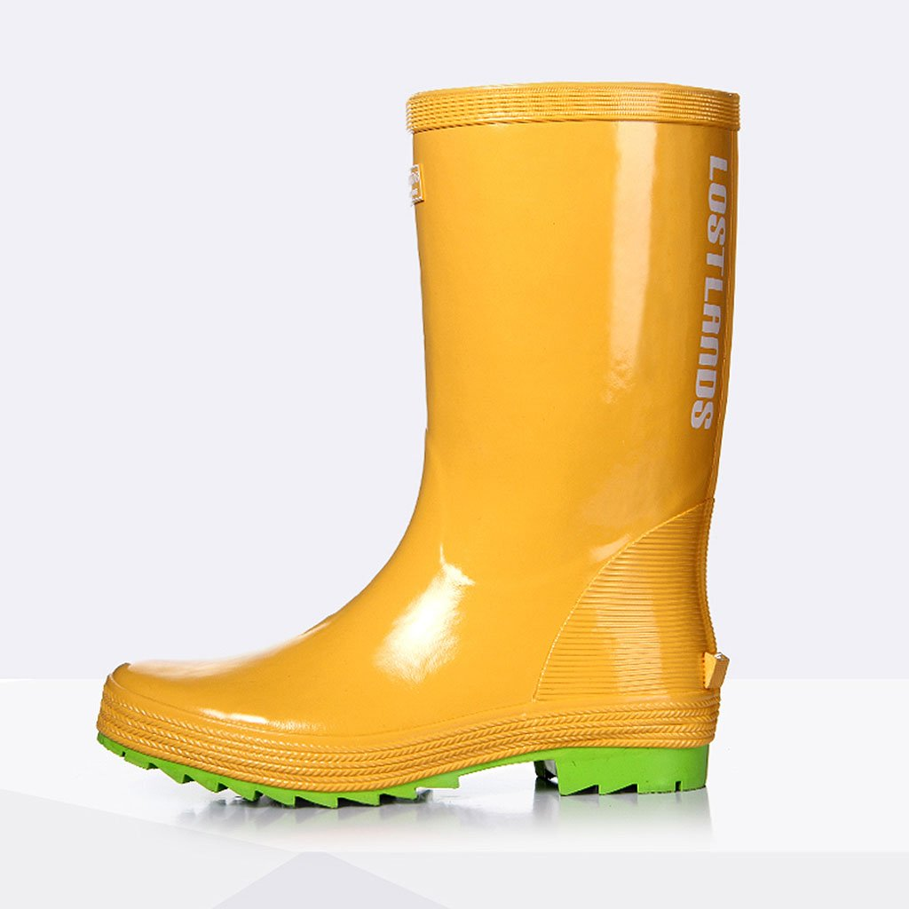 Regen Schuhe Für Männer Anti-rutsch-Regen Hohe Rohr Naturkautschuk Wasserdicht Anti-rutsch-Regen Männer Stiefel Für Frühling Sommer Outdoor Angeln Gelb b7a064