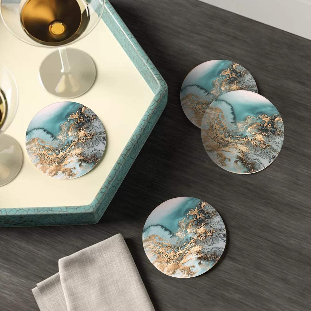 Round Drinks Absorbent Stone Coaster Set with Ceramic Stone and Cork Base for Kinds of Mugs and Cups Blue, Set of 4 Lahome Marble Pattern Coasters