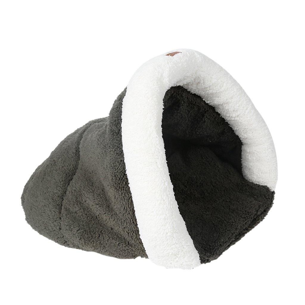 Navy bluee L Navy bluee L MonkeyJack Warm Kitten Cat Dog Kennel House Puppy Soft Cave Pet Bed Sleeping Bag Plush Cozy Mat Pad Cushion Nest S L Navy bluee, L