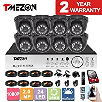 TMEZON 8 Channel AHD Surveillance System 2.0MP 1080P HD Megapixel Security Camera HD-AHD DVR Kit and 8 x 2.0MP 1080P Infrared Cameras System 1TB HDD